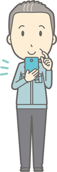 Middle-aged work clothes - smartphone operation - whole body