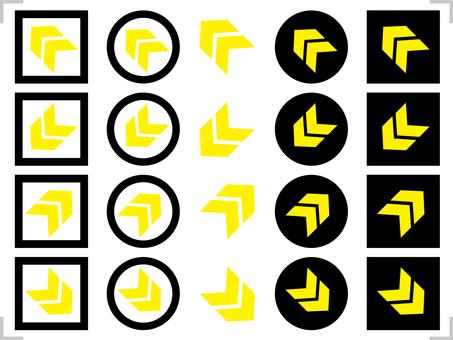 Arrow icon 45 degrees diagonal set black, yellow