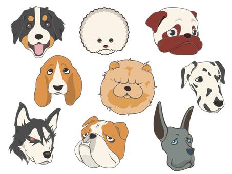 犬の顔アイコンセット