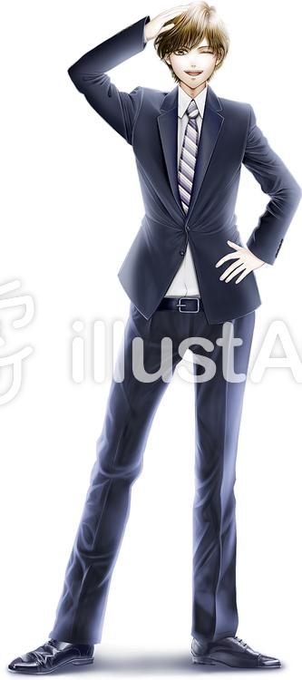 スーツ手を挙げて挨拶する若い男性全身イラスト No 158211無料