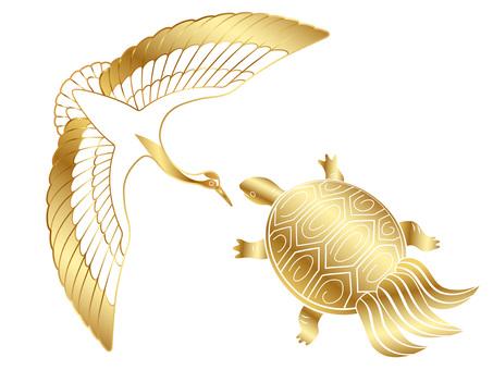 New Year 's material golden cranes