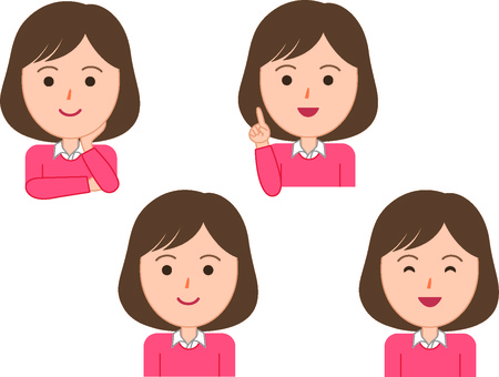 Female facial expression 4 types 1