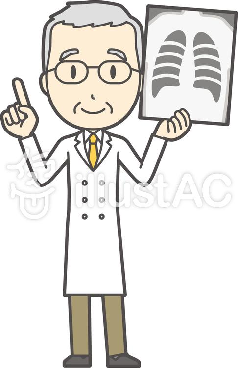 白髪男性医師-141-全身のイラスト