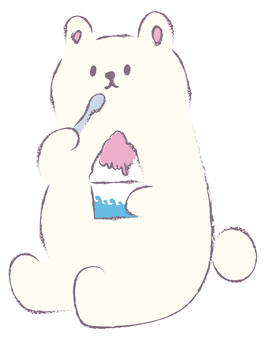 A loose bear eating shaved ice