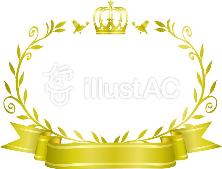 王冠とオリーブのフレーム5のイラスト