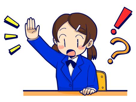 A hand! Uniform girls