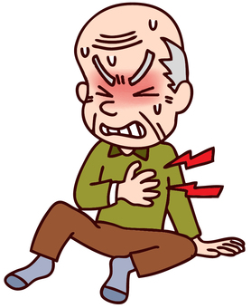 An illustration of a grandfather complaining of chest pain