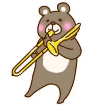 A bear blowing a trombone