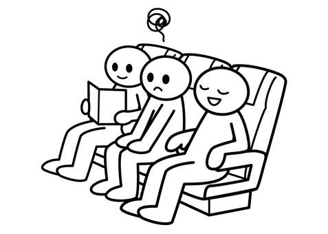 【お題】棒人間-真ん中の席は窮屈