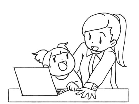 [Black and white] Computer classroom [Line drawing]