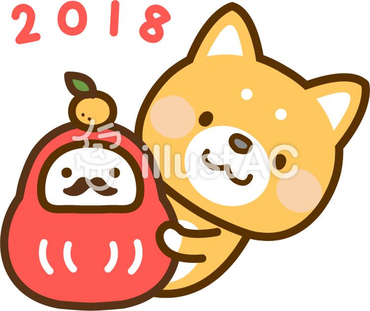 2018年賀状ワンポイント_犬とだるま