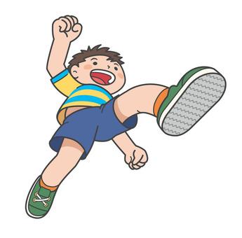 건강한 소년 점프 일러스트