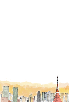 도쿄 타워 아침 놀 엽서 (투명) 세로