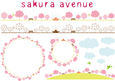 Illustration _ row of cherry blossoms