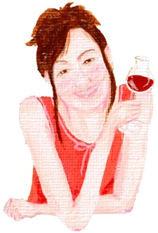 Woman oil painting style leaning red wine glass with elbow