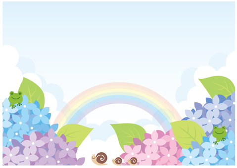 Hydrangea background with character