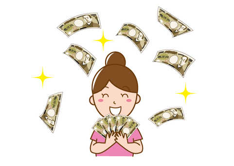 A woman who rejoices with a lot of money