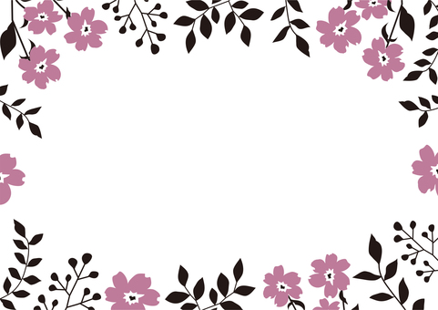 단순 귀여운 핑크 블랙 보태니컬 프레임
