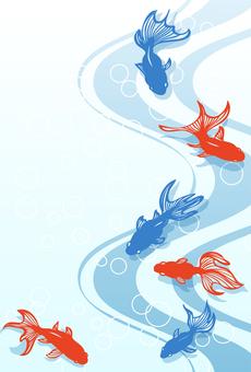 Paper-cut goldfish postcard