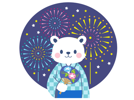 【Summer】 Fireworks display Yukata polar bear illustration