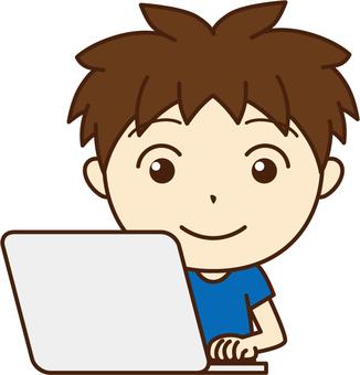 A boy using a PC