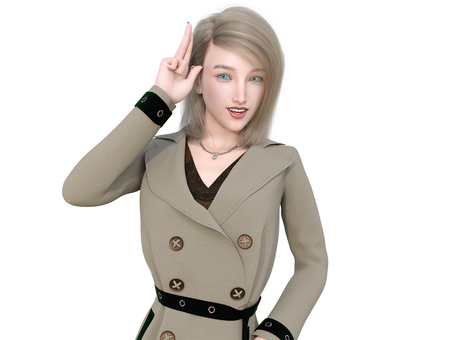 Blonde woman wearing a trench coat posing