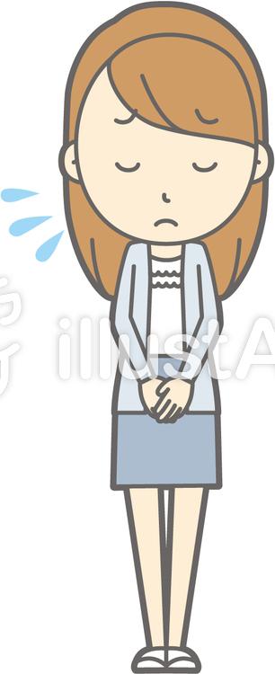 女子大生a-おじぎ謝罪-全身のイラスト