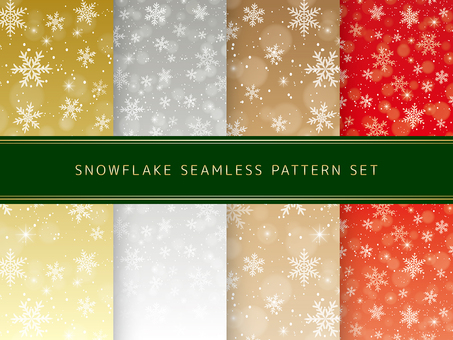 Seamless pattern set of snowy crystals