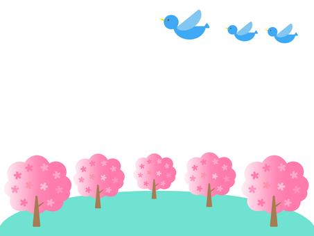 Cherry tree and blue bird