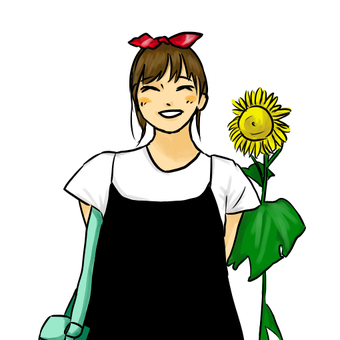 Sunflower and girl