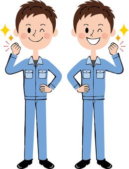 승리의 포즈 작업자 파란색 남성 윙크 전신