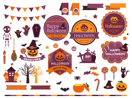 Various illustrations for Halloween labels