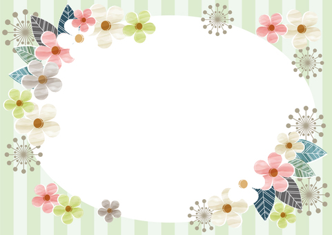 Flower and Sima sima round frame green