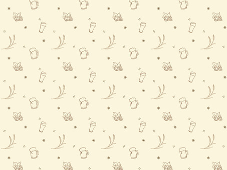 Beer Pattern Background Barley and Hop Handwriting Style