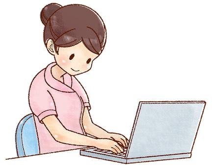 Nurse using a personal computer