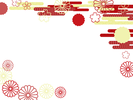 Japanese style cherry blossoms and chrysanthemums Red