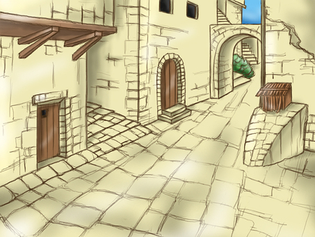 Ancient city street alley background illustration