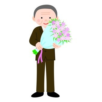 Veteran man holding a bouquet