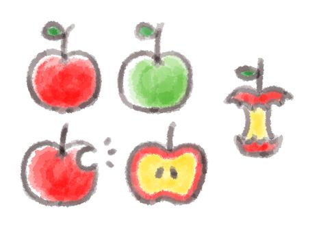 Apples painted in watercolor