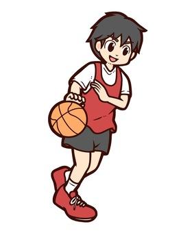 バスケットボールをする男の子