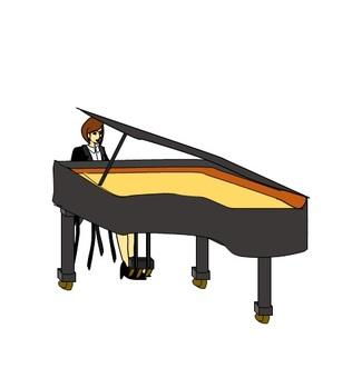 그랜드 피아노를 연주하는 여성