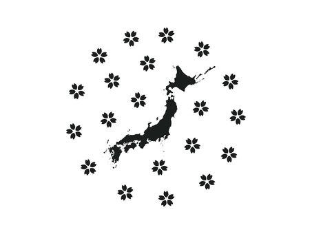 桜と日本地図 白黒