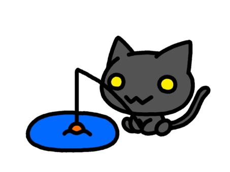 Cat catching fishing black cat