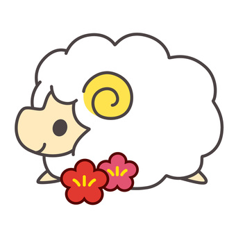 Sheep and plum blossoms (white)