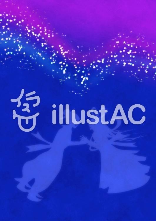天の川の織姫と彦星シルエットA4明るい縦のイラスト