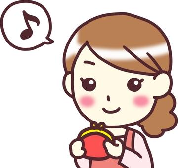 【Female apron】 diagonal _ wallet note