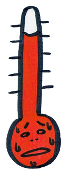 A hot weather thermometer