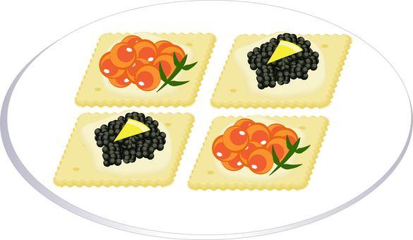 Ikura and caviar canape