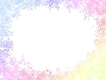 잎 식물 수채화 프레임 3 페르 배색
