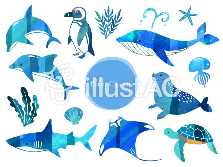 青い海の生き物のイラスト